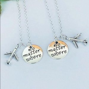 Jewelry - Set of 2 No Matter Where, Friendship Necklace.